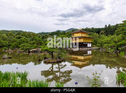 The Golden Pavilion at Kinkakuji Temple in Kyoto, Japan, Asia - Stock Photo