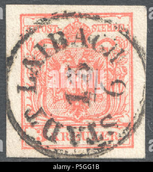 N/A. English: Austrian KK stamp, 3 kr issue 1854, Ferchenbauer Type IIIa, machine paper (0,12-0,13mm), rose, cancelled at 'STADT LAIBACH' now Ljubljana in Slovenia. Catalogue stamp: Ferchenbauer IIIa Müller postmark: 1438f type RS-f (2) . 1854. Post of the Austrian Empire 153 Austria 1854 IIIa LAIBACH - Stock Photo