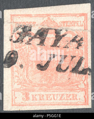 N/A. English: Austrian KK stamp, 3 kr issue 1854, Ferchenbauer Type IIIa, machine paper (0,12mm), rose, cancelled at GAYA now Kyjov (Hodonín District) in the Czech Republic. Stamp of the right side of the sheet, see frame line at right, 770/A86-6. 1854. Post of the Austrian Empire 153 Austria 1854 IIIa GAYA - Stock Photo
