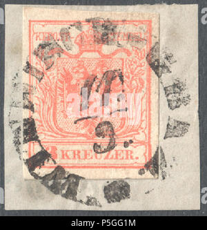 N/A. English: Austrian KK stamp, 3 kr issue 1854, Ferchenbauer Type IIIa, machine paper, rose, cancelled at WINDISCH GRAZ, now Slovenj Gradec in Slovenia. Müller postmark: 3251a type RCs-f (10x8) . 1854. Post of the Austrian Empire 153 Austria 1854 IIIa WINDISCH GRAZ - Stock Photo