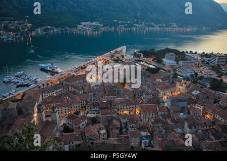 Looking down on the old town from the top of St John (San Giovanni) Fortress and Castle, Old Town, Kotor, Bay of Kotor, Montenegro - Stock Photo