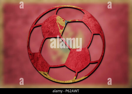 Soccer ball national Montenegro flag. Montenegro football ball. - Stock Photo