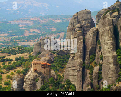The Monastery of St. Nicholas Anapausas on the extraordinary cliffs at Meteora, Greece - Stock Photo