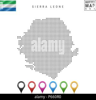 Dots Pattern Vector Map of Sierra Leone. Silhouette of Sierra Leone. Flag of Sierra Leone. Multicolored Map Markers - Stock Photo