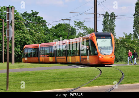 France, Le Mans, modern Tramway - Stock Photo