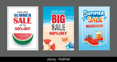 Summer sale banner templates. Paper art and craft style. Vector illustrations for email, newsletter, website, mobile ads, discount, coupon,poster. - Stock Photo