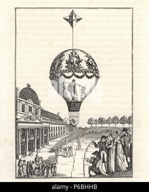 Ascension of a balloon by female balloonist Sophie Blanchard at the Champ de Mars, Paris, June 24, 1810. Engraving from Paul Lacroix's 'Directoire, Consulat et Empire,' Paris, 1884. - Stock Photo