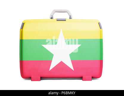 Used plastic suitcase with stains and scratches, printed with flag, Myanmar - Stock Photo