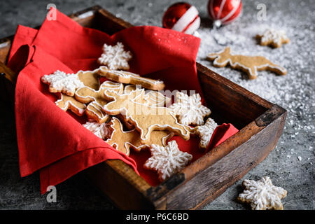 Decorated homemade Christmas gingerbread cookies - Stock Photo