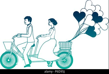 just married couple in bicycle and balloons helium with shape heart - Stock Photo