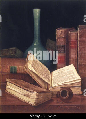 . The Bookworm's Table  circa 1890 8 Brooklyn Museum - The Bookworm's Table - Claude Raguet Hirst - Stock Photo