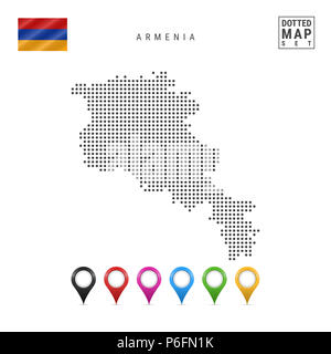 Dotted Map of Armenia. Simple Silhouette of Armenia. The National Flag of Armenia. Set of Multicolored Map Markers. Illustration Isolated on White Bac - Stock Photo