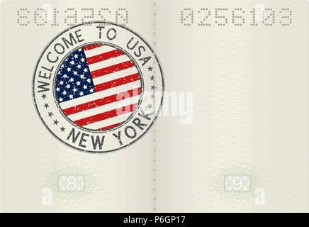 Passport pages with Welcome to New York, USA travel stamp - Stock Photo