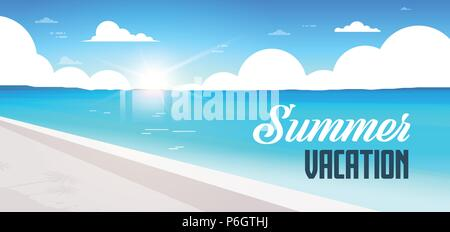 sunrise beach view summer vacation seaside sea ocean flat banner lettering - Stock Photo