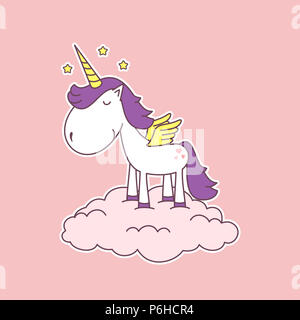 Very cute cartoon unicorn with wings standing on a cloud. Lovely illustration on pink background for greeting cards or children books. - Stock Photo