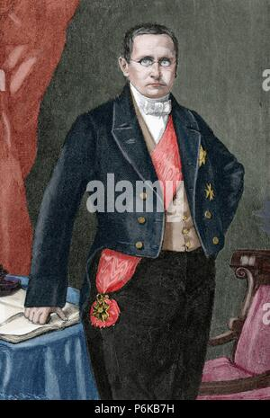 Otto Theodor von Manteuffel (1805-1882). Conservative Prussian statesman. Engraving by Kaeseberg. Historia Universal, 1885. Colored. - Stock Photo