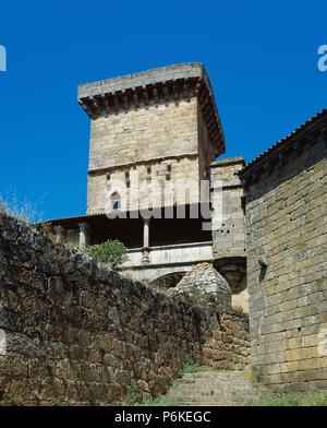 Spain. Castle of Monterrey. Palace-fortress built between 12th-15th centuries. View of the Tower of the Ladies, 13th-14th centuries. Ourense province. Galicia. - Stock Photo