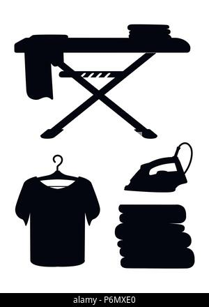 Black silhouette. Laundry room icon collection. Blue ironing board, white iron, pile of towels and ironed t-shirt. Flat cartoon illustration isolated  - Stock Photo