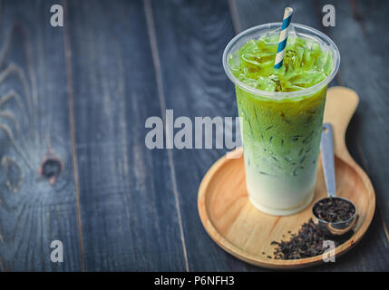 Ice Matcha Green Tea, cool and healthy drink in summer. - Stock Photo