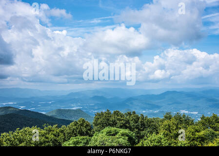 Scenic view of the Blue Ridge Mountains of Georgia and North Carolina from Brasstown Bald, the highest elevation in the state of Georgia. (USA) - Stock Photo
