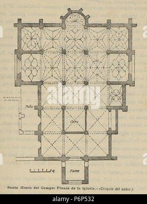 1920-06, Boletín de la Sociedad Española de Excursiones, Santa María del Campo, planta de la iglesia, Vicente Lampérez. - Stock Photo