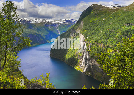 the Geirangerfjord and the waterfall Seven Sisters from above, Norway, fjord and mountain panorama - Stock Photo