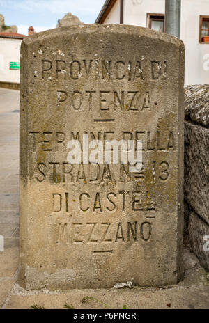 Old road marker in hill town of Castelmezzano in Lucanian Apennines, Basilicata, Italy - Stock Photo