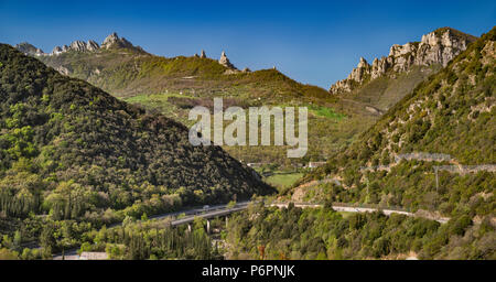 Dolomiti Lucane range in Lucanian Apennines, view over Basento Valley from road to Campomaggiore, Basilicata, Italy - Stock Photo