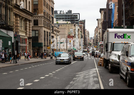New York City / USA - JUN 27 2018: TriBeCa streets, and buildings facade, store, restaurant and cafe and apartments in Manhattan - Stock Photo