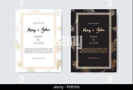 Vector invitation with gold floral elements. Wedding invitation cards with floral elements - Stock Photo