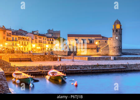 Night view of Collioure, Pyrenees-Orientales, France - Stock Photo