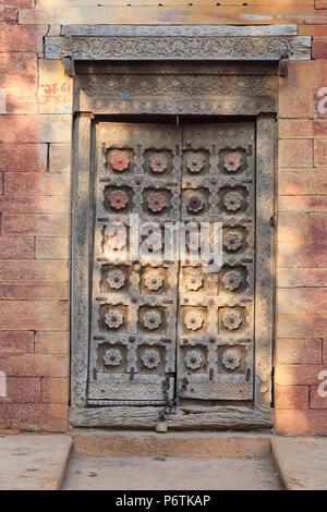 India, Rajasthan, Jaisalmer, Old Town, Patwa Ki Haveli (Traditional Ornately decorated residence) - Stock Photo
