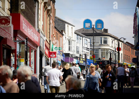 Rochdale  town centre Yorkshire street main shopping street in the Greater manchester town - Stock Photo