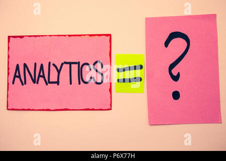 Handwriting text Analytics. Concept meaning Data Analysis Financial Information Statistics Report Dashboard Ideas messages pink papers communicate int - Stock Photo