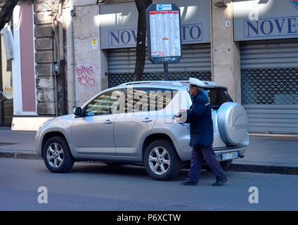 Strafzettel, Parken, Catania, Sizilien, Italien - Stock Photo