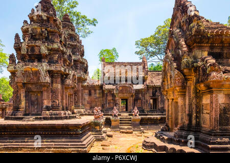 Prasat Banteay Srei temple ruins, UNESCO World Heritage Site, Siem Reap Province, Cambodia - Stock Photo