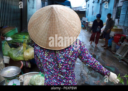 Woman with traditional conical hat , Can Tho , Vietnam - Stock Photo