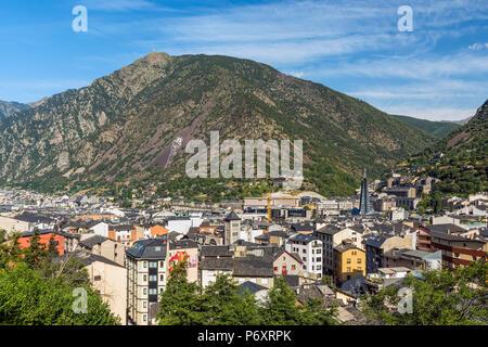 City skyline, Andorra La Vella, Andorra - Stock Photo