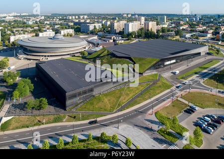Aerial view of Katowice city center with spodek (saucer) sport and entertainment venue, artificial canyon , international conference center and blocks - Stock Photo