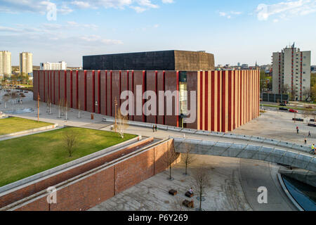 Katowice, Poland - April 12, 2018: Modern concert hall of the National Symphonic Orchestra of Polish Radio (NOSPR) in Katowice, Poland. Aerial view. - Stock Photo