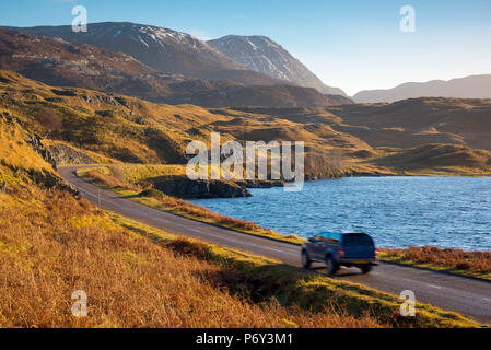 UK, Scotland, Highland, Sutherland, Lochinver, Loch Assynt - Stock Photo