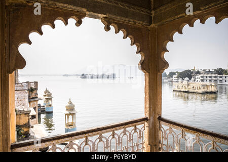 Taj Lake Palace from the Bagore Ki Haveli Museum, Lake Pichola, Udaipur, Rajasthan, India - Stock Photo