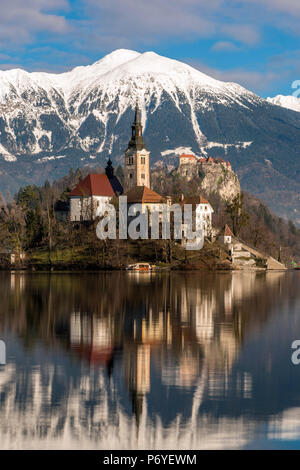Church of the Assumption of Mary, Lake Bled, Upper Carniola, Slovenia - Stock Photo