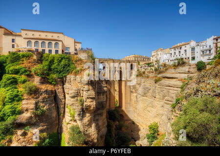 Puente Nuevo Bridge over the Tajo Gorge, Ronda, Andalusia, Spain - Stock Photo