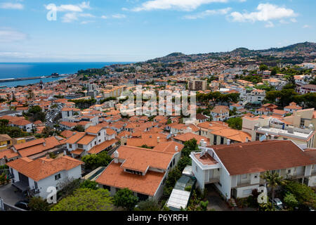 View from the Teleferico Cable Car in Funchal Madeira - Stock Photo