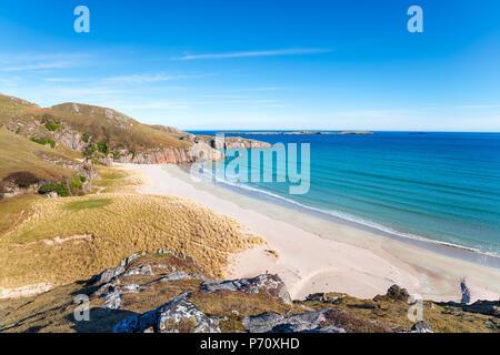 Sangobeg Sands a remote beach near Durness in Sutherland - Stock Photo