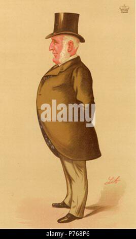 Caricature of Edward Baring, 1st Baron Revelstoke. Caption read 'Barings'. 1888 192 Mayer Amschel de Rothschild Vanity Fair 27 May 1871 - Stock Photo