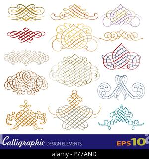 Vector set of calligraphic design elements - Stock Photo