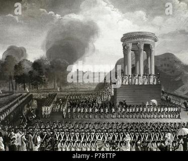 French Revolution.1789-1799. Party of the Federation at Mars Field. Commemorate the storming of the Bastille.  14 july 1798. Engraving. Paris. France. - Stock Photo