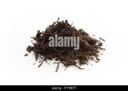 Tree bark and wood chips mulch used in horticulture and gardening. Closeup of an isolated cone pile on white studio background - Stock Photo